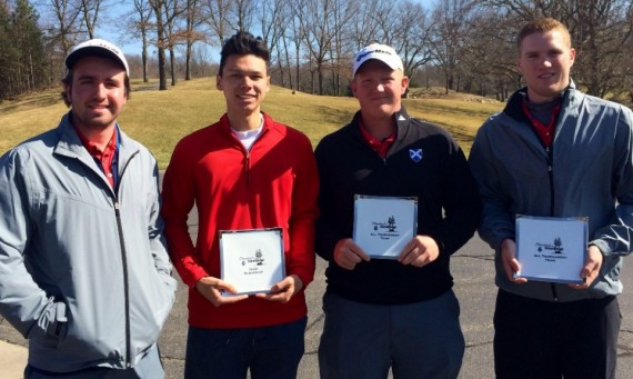 The SXU men's golf team took second and Robert Lively (second from right) and Kyle Yaeger (right) were named all-tourney