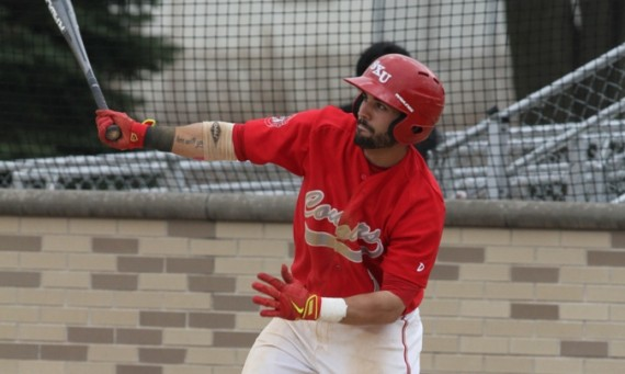 Junior Alec Barnhart had three of SXU's four RBI on the day in a doubleheader loss to Holy Cross Tuesday