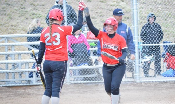 Sophomore Savannah Kinsella celebrates after scoring a run in SXU's big 8-3 win over Corban late Tuesday