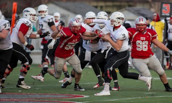 The Cougars had trouble slowing down SOU senior QB Austin Dodge (#3) Saturday