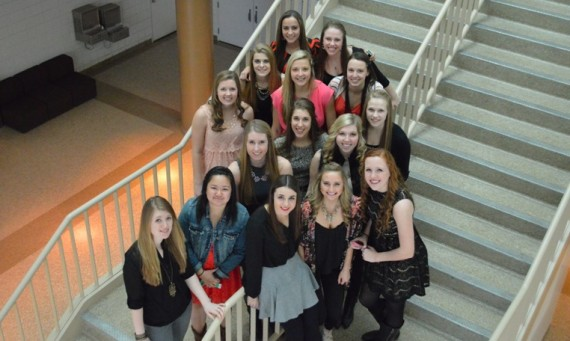 Photo of the SXU women's basketball team prior to Tuesday's pre-tournament banquet