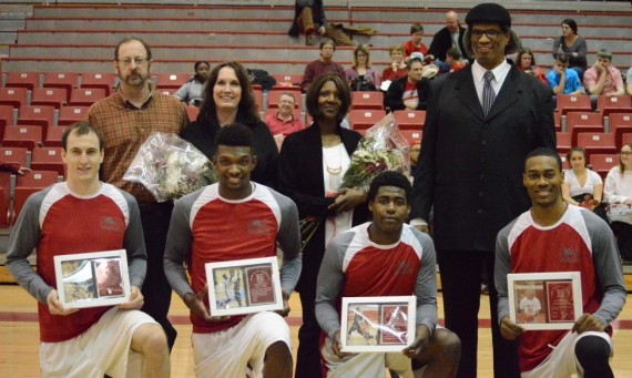 The four seniors on the SXU men's basketball team were honored in a pre-game ceremony Wednesday for Senior Night