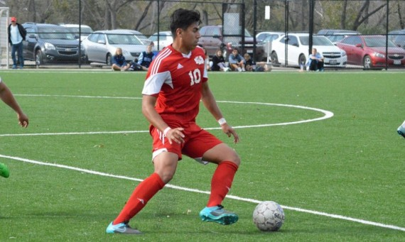 Sophomore Ricky Aldape scored SXU's lone goal Saturday in a tough 2-1 road loss to No. 20 Roosevelt and also earned All-CCAC