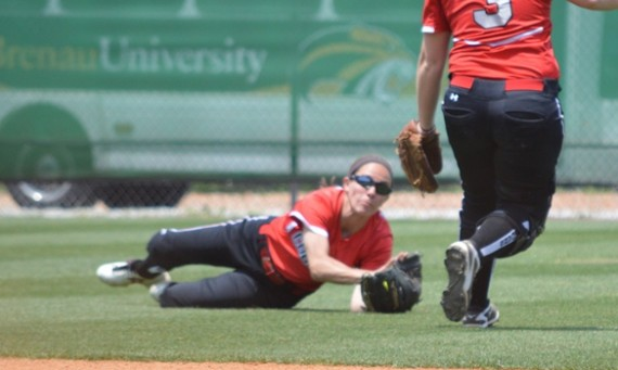Senior Kasey Kanaga's diving catch in the sixth preserved the no-hitter in SXU's 2-0 win over Milligan College Monday