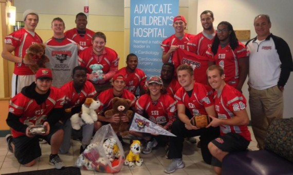 Fifteen players from the SXU football team got the chance to visit patients at Advocate Children's Hospital Wednesday