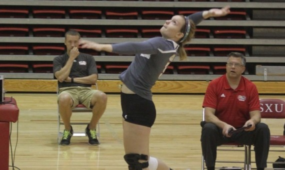 Senior Meghan Falsey became just the 15th player in SXU volleyball history to surpass 1,000 career kills Tuesday night