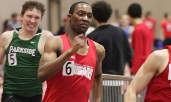 Senior Rexford Wiafe broke a school record in the 600 meter run and qualified for indoor Nationals with a time of 1:22.28