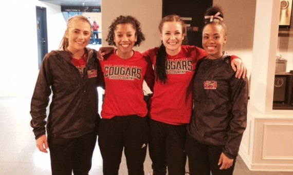 From left:  Sophomore Ellie Willging, sophomore Rachal Brooks, junior Nicole Watkins and freshman Deandra Stokes at Nationals