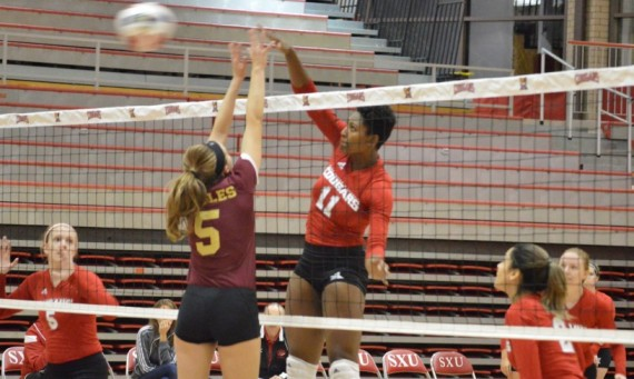 Junior Melanie Miller had another big weekend for the Saint Xavier University volleyball team at the CCAC Crossover