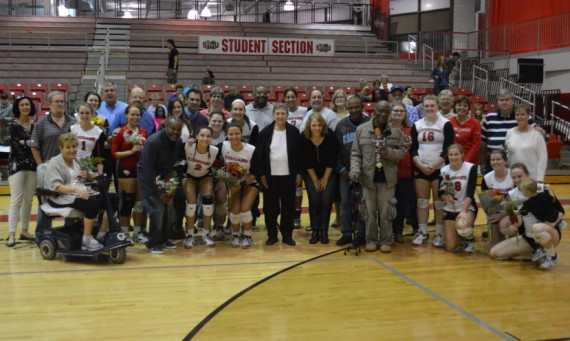 The players on the 2016 SXU volleyball team gathered with parents and family members in honor of Senior/Parent Night
