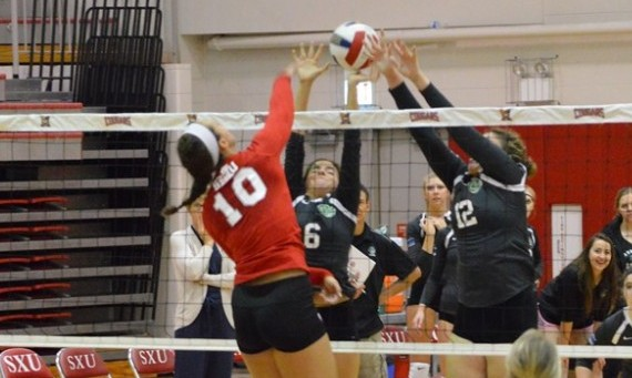 Sophomore Helena Atton led Saint Xavier with 16 kills and five block assists against Stritch (Wis.) Thursday night