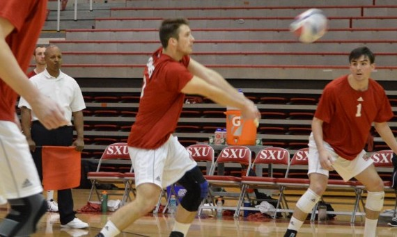 Senior Sean Barry had 13 kills to lead the SXU men's volleyball team to a win over Mount Mercy Friday night