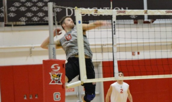 Senior Sean Barry had 15 kills and 12 digs in a CCAC road victory over Trinity Christian Thursday