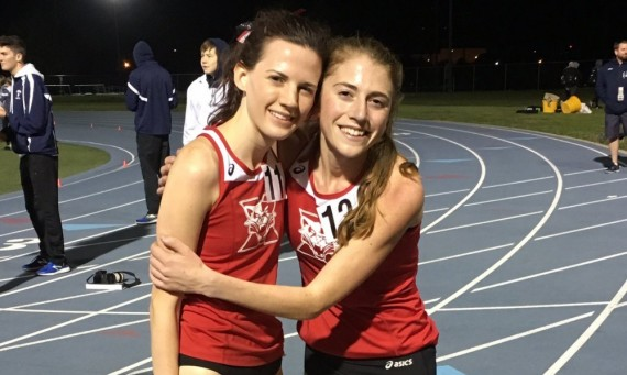 Junior Ellie Willging (right) celebrates with senior Nicole Maier (left) after breaking the CCAC record in the 10K Saturday