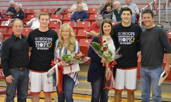 Seniors Kyle Huppe (left) and Kody Kleinrichert (right) were honored with parents prior to Saturday's game for Senior Day