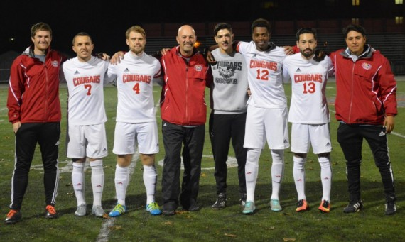 The SXU men's soccer coaching staff with seniors Kamil Szczesniak, Peter London, Erik Diaz, Farai Tsingano & Adrian Gonzalez
