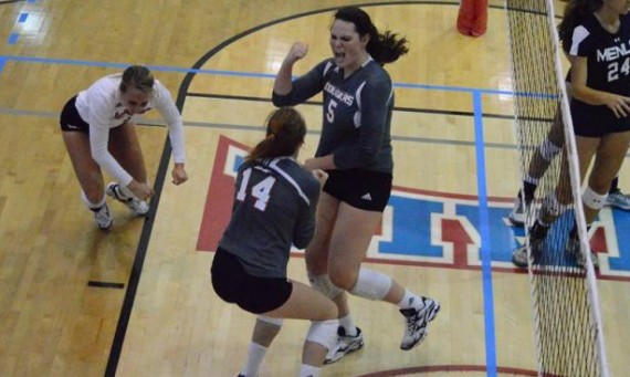 Sophomore Rory Manion celebrates after one of her 30 kills on the day in SXU's two matches Friday