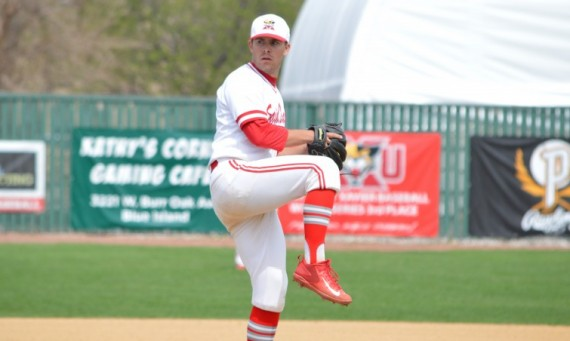 Junior Matthew McKenzie got the game one victory for SXU Wednesday against Calumet and had 10 strikeouts