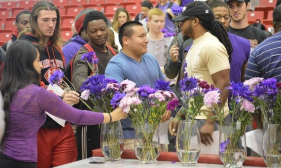 Members of the Saint Xavier community, including many SXU athletes, attended the Purple Thursday ceremony