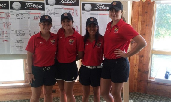 The 2016 SXU Women's Golf team (from left): Taylor Thompson, Katie Reno, Hannah Cruz and Andrea Strohmaier