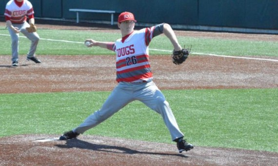 Sophomore Brett Smith was impressive on the mound for SXU in Monday's 12-2 win over Aquinas College (Mich.)