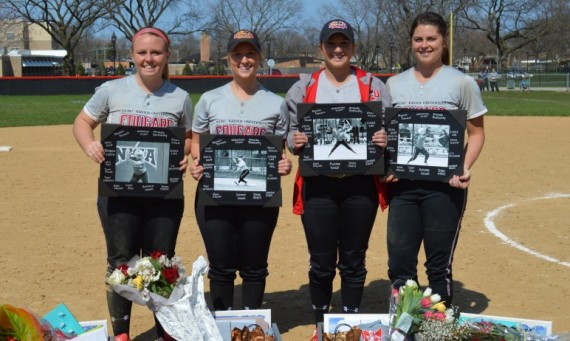 SXU Softball Seniors (from left): Savannah Kinsella, Franchesca Graffeo, Callie Brown and Brittany Plimmer