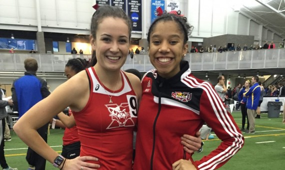 Senior Nicole Watkins (left) and junior Rachal Brooks (right) both set school records Saturday at the GVSU Lints Open